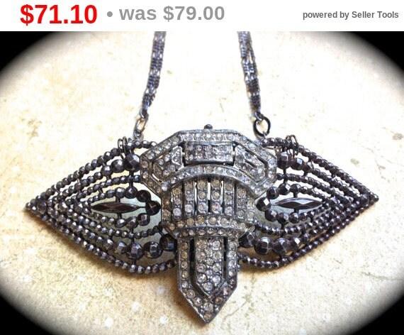 Summer Sale Sale Art Deco Necklace- Repurposed clear rhinestone Necklace