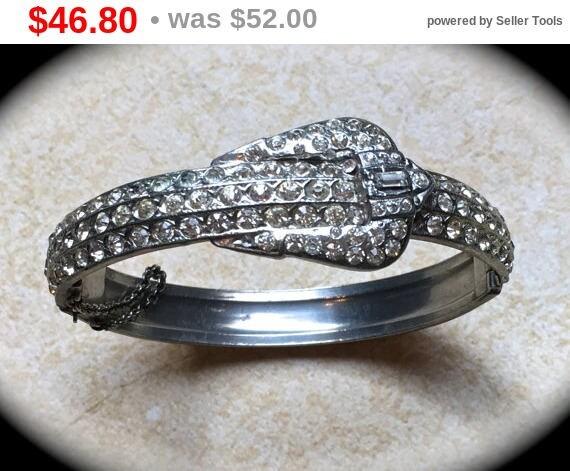 Summer Sale Pave Rhinestone Bracelet, Hinge bangle bracelet