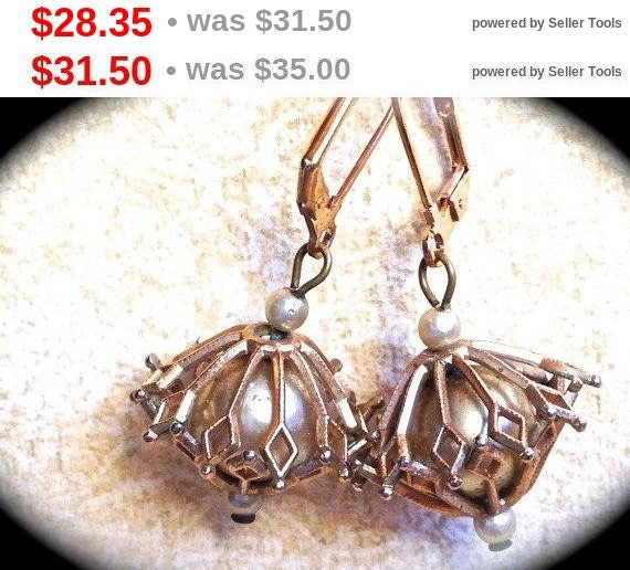 Summer Sale Summer Sale Mid century Gold Toned Caged Pearl Dangle Vintage  Earrings