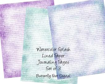 Printable Art Journal Pages, Lined Paper, Printable Stationery, Watercolor Splash Art, Instant Digital Download