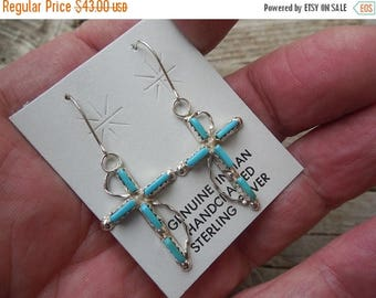ON SALE Turquoise cross earring handmade in sterling silver by an American Indian