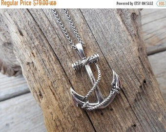 ON SALE Anchor necklace handmade and antiqued in sterling silver 925