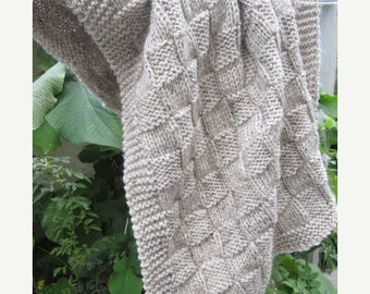 Christmas in July Wool, hand knit,Throw, baby blanket (oatmeal-tweed grey color)