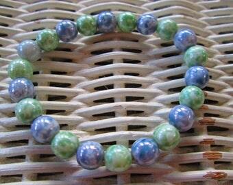 340 Womens Czech aqua mix 8mm round glass beaded bracelet-Teens Czech aqua mix 8mm round glass bead bracelet