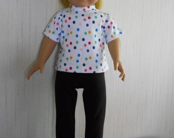 """18"""" Girl Doll Clothes Dot Shirt with Black Leggings for American Girl Type Dolls"""