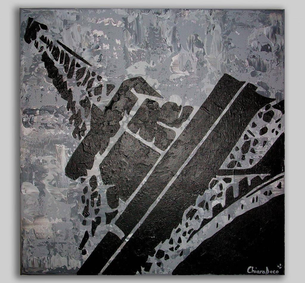 Tableau Gris Blanc Noir