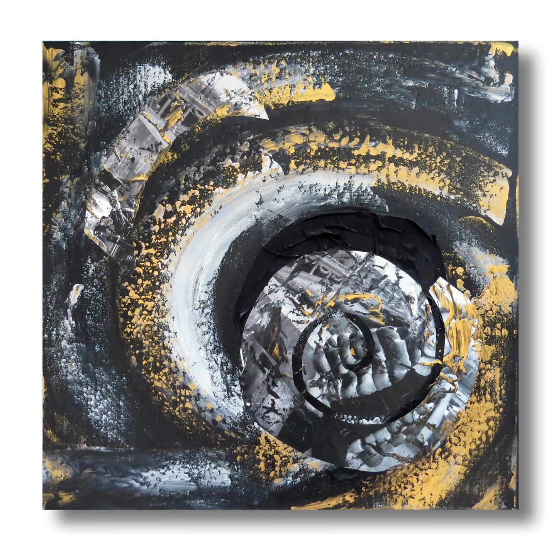 Tableau carr toile design gris noir blanc dor art Tableau noir et blanc abstrait
