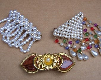 Three vintage 1980s hair barrettes hair slide hair clip hair ornament hair jewelry hair accessory (ZAL)