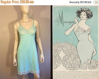 BI-ANNUAL SALE She'll Shock Them All - Vintage Late 1950s Vasserette Aqua Blue Robins Egg Blue Tiffany Blue Full Slip