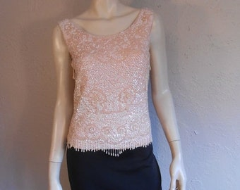 Anniversary Sale 35% Off Roger & Mona Sterling's Cocktail Party - Vintage 1960s Petal Pink Wool Tank Sweater w/Sequins Beads - M