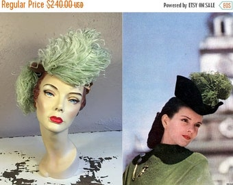 Anniversary Sale 35% Off A Flick to the Left - Vintage 1940s Mint Green Ostrich Feathers Tilt Topper Hat w/Bronze Satin