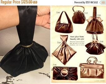 Anniversary Sale 35% Off I Carry It All In a Pouch - Vintage 1940s Spot Lite L & M Black Rayon Satin Wrist Pouch Handbag