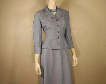 Anniversary Sale 35% Off Miss Dashwood For Tea - Vintage 1950s Lavender Blue Rayon Wasp Waist Suit w/Carved Buttons - 4/6
