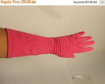 Anniversary Sale 35% Off These Nights Get Hotter - Vintage 1950s Van Raalte Hot Bright Pink Long Mid Arm Gloves - 7