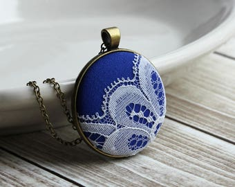 Cobalt Blue Necklace, Vintage White Lace Jewelry, Large Pendant, Anniversary, Bridesmaid, Unique Gift For Women, Wife, Sister