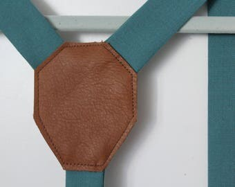 Creamy Dusty Aqua Wool Suspenders with Caramel Leather