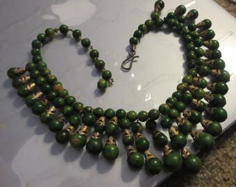 Rare Spinach Bakelite & Brass Cleopatra Collar Necklace