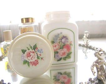 Vintage Avon Powder Jar Milk Glass Jar Country Garden Powder Sachet from AllieEtCie