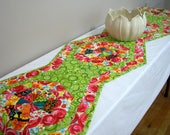Flowered Table Runner Quilted Quiltsy Handmade FREE U.S. SHIPPING Lime Green Red Assorted Colors Modern Flowers Octagonal Bed Runner