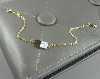 Cloud Nine. Gold and White Geometric Bracelet. minimal bracelet. simple bracelet. layering bracelet. gold bracelet. chain bracelet.