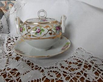 Antique Porcelain Jam/Condiment Server/Afternoon Tea