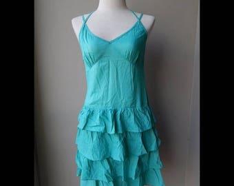 ON SALE Green Cotton Summer Sundress Dress Bust 34 waist 26 hip 34