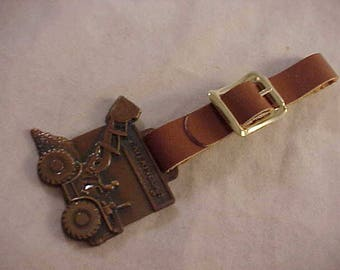 Caterpillar Tractor Company Advertising Watch Fob With Brown Leather Strap
