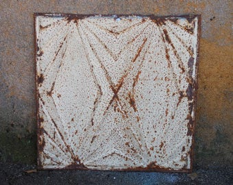 Antique tin metal ceiling tile Architectural Salvage Art Deco pattern Shabby French Country 2 foot square