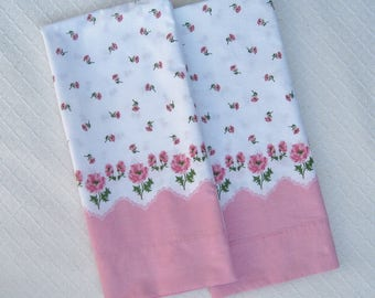 Set of 2 Vintage Pillowcases, Pink Floral Print, Scalloped Border, 1950s