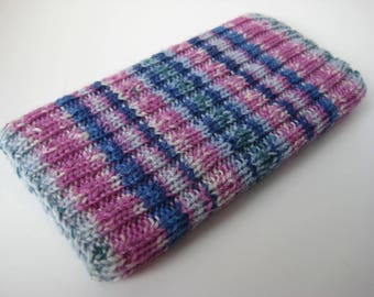 knitted wool iPhone 6 sock cosy - hand knit phone sock - one of a kind mobile phone cosy - blue pink striped smartphone sock - iphone 7 sock