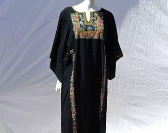 Vintage 70's ethnic hippie dress palestinian indian festival  folk art dress boho summer cotton sL by thekaliman