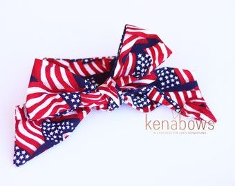 4th of July Head Wrap, Big Fabric Bow, American Flag, Patriotic, Military Support, Baby Headband, Head Scarf,  Newborn, READY to SHIP