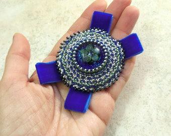 Cobalt brooch Beads Brooch order Beaded embroidery Velvet ribbon tie Round blue brooch Vintage fashion Royal blue wedding