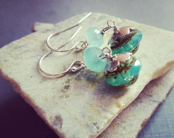 Sterling Silver And Green Glass Earrings