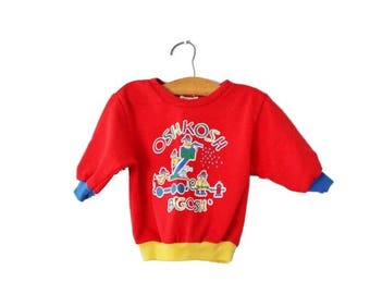 50% half off sale // Vintage 80s Osh Kosh B'Gosh Teddy Bear Fireman Sweatshirt - 12 Months Boy Girl, Childrens - Made in USA