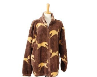 50% half off sale // Vintage 90s WILD HORSES Brown Fleece Jacket - Made in America - Women XL, Twin Peaks, rustic, ranch style