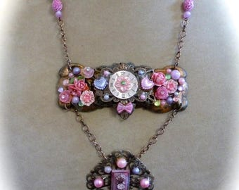 HUGE SALE Assemblage Necklace Pendant, Neo-Victorian OOAK, Vintage Repurposed Escutcheon Hardware, Filigree and Pink Hearts and Flowers