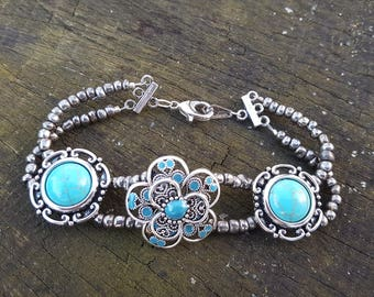 Beaded Double Strand with Turquoise Focals Bracelet