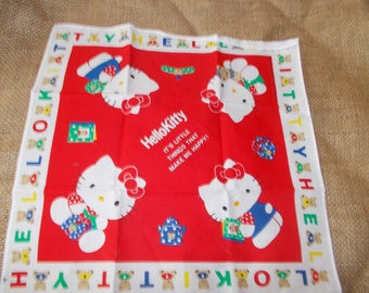 Vintage Hello Kitty red and white hankerchief