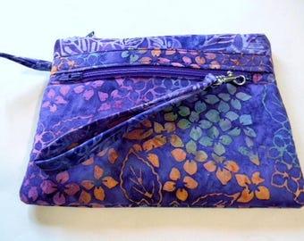 Purple Hydrangea Batik Wristlet with Detachable Handle