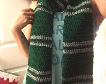 Green and Gray Striped Scarf