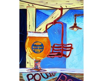 Girdwood Brewing, IPA Beer Painting, Red Ski Lift Chair, Alaska Beer Art, Alyeska Art, Present for Husband, Anniversary Beer Gift, Bar Art