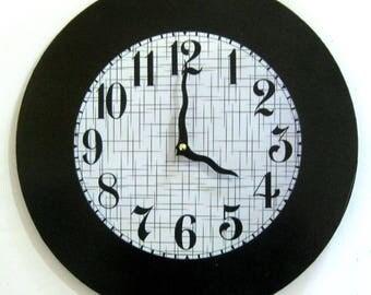 Wall clock. Unique clock. Modern clock. Art Deco clock. Art Deco.  Vinyl clock.