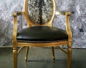 SALE 15% Off! Chair Louis hide gold gilt vintage antique office desk living room black leather genuine cowhide