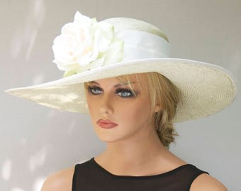 Derby Hat, Wedding Hat, Church Hat, Woman's Formal Straw Hat with Flower, Wide Brim HatAscot Hat, Dressy Hat, Tea Party Hat Garden Party Hat