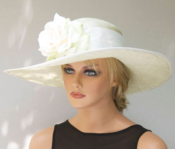 Derby Hat, Wedding Hat, Church Hat, Woman's Formal Straw Hat with Flower, Wide Brim HatAscot Hat, Dressy Hat, Tea Party Hat Garden Party Hat