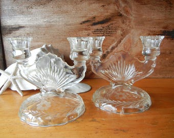 Vintage Pair Etched Glass Floral Candelabras Candlestick Centerpiece Crystal Cambridge Collectible glassware tablewear wedding gift