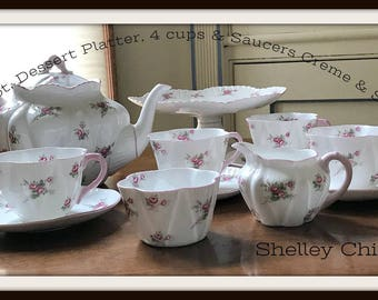 Shelley Dainty Rose Spray Bridal Rose Tea Service Teapot, Pedestal Cake Stand, 4 Cups & Saucers Cream, Sugar,  Bone China Dishes England