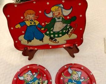 Antique  Tin Ohio Art Toy Co. Tea Set 1950s Dutch Winter Wonderland - 3 pieces - Adorable HTF - Red with Skaters