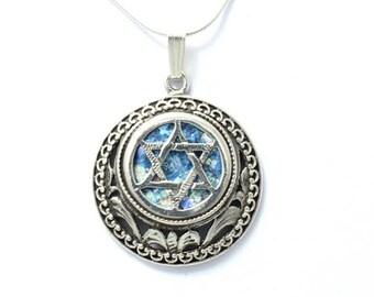 Beuatiful  Roman Glass 925 Silver Star  Of David Pendant